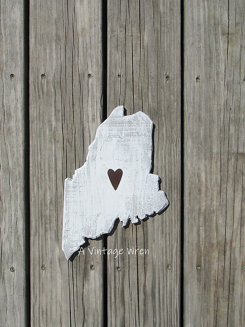 Handmade in the USA Wooden Maine Sign / State Cutout