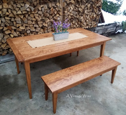 Shaker Dining Table and Bench for 6