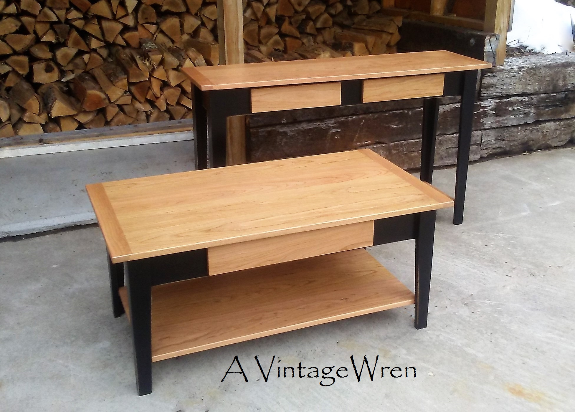 Cherry Coffee and Console Tables