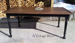 Farm Table with Black Painted Base