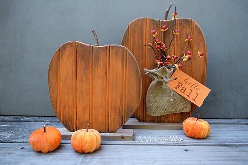 Handmade in the USA Pair of Wood Pumpkins / Wooden Pumpkin Set