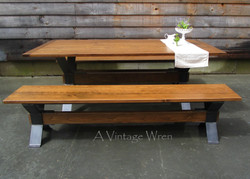 Industrial Trestle Table for 6