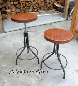 Wood and Metal Stools