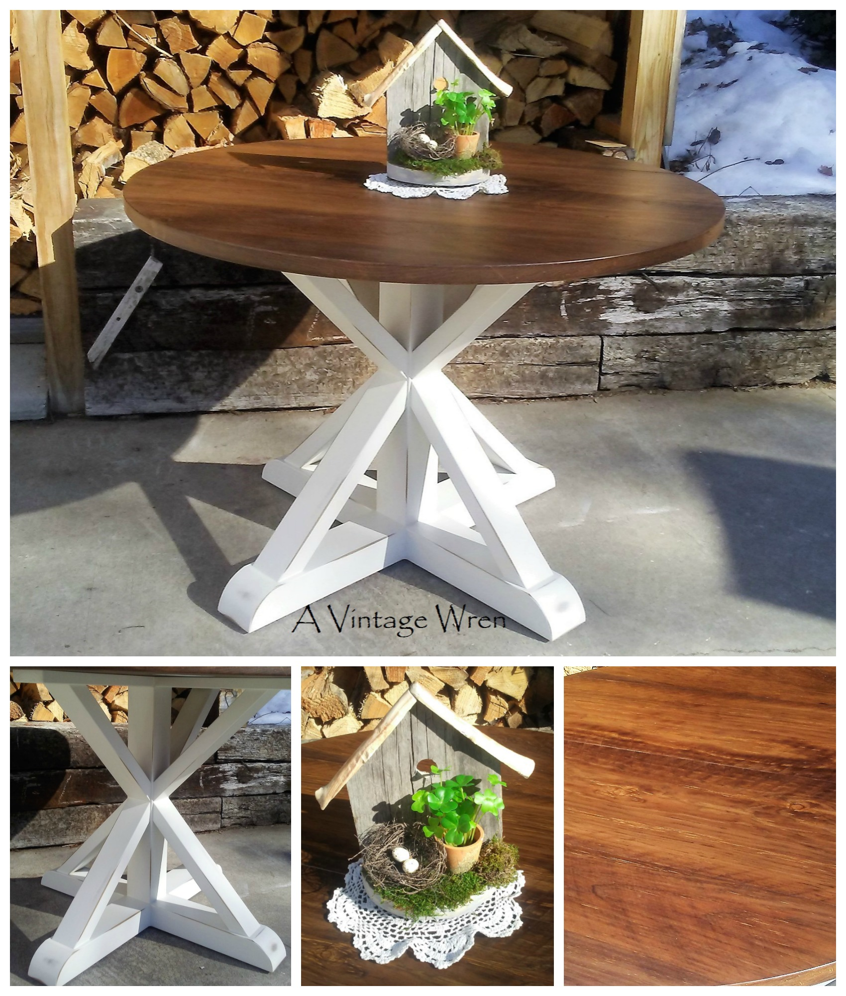 Wood X Pedestal Table