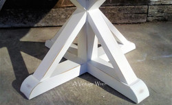 Wood X pedestal base constructed with true mortise and tenon joinery