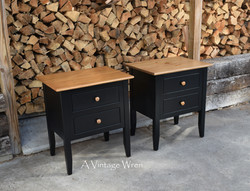 Pair of Black Painted Nightstands