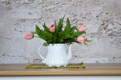 Ironstone Teapot with Pink Tulips