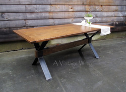 Modern Industrial Trestle Table for 6