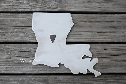 Wooden Louisiana State Map Cutout/ Louisiana decor/ LA map/State sign/Wood sign