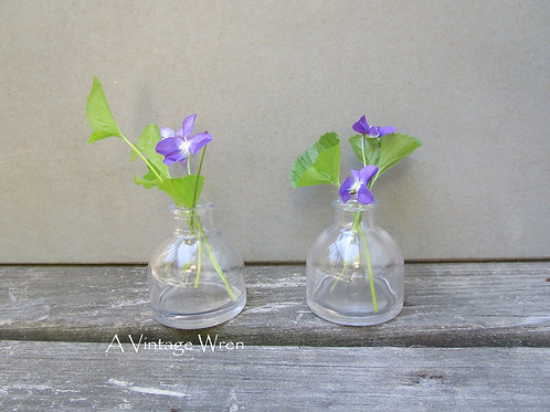 Pair of clear glass bottles / ink well glass jars / wedding flower vases