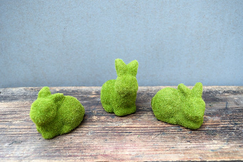 Set of 3  Moss Bunnies / Easter Bunnies / Spring Decor