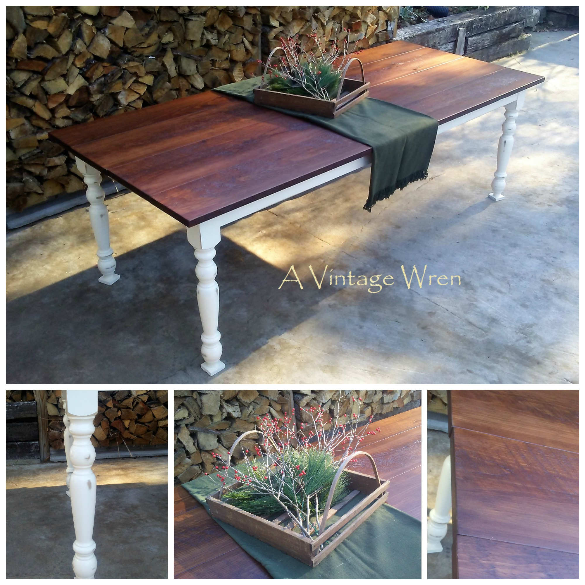 Farm Table with White Painted Base