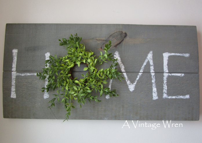 Rustic HOME sign with wreath
