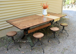 Trestle Table with Adjustable Height Stools