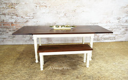Extendable Farmhouse Dining Table with bench