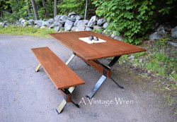 Industrial Dining Table and Bench for 6