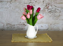 Ironstone pitcher with tulips