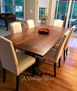 Wood and Metal Trestle Table