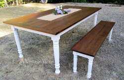 White painted farmhouse dining table
