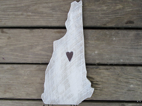 Hamdmade in the USA Wooden NH Sign / State Cutout