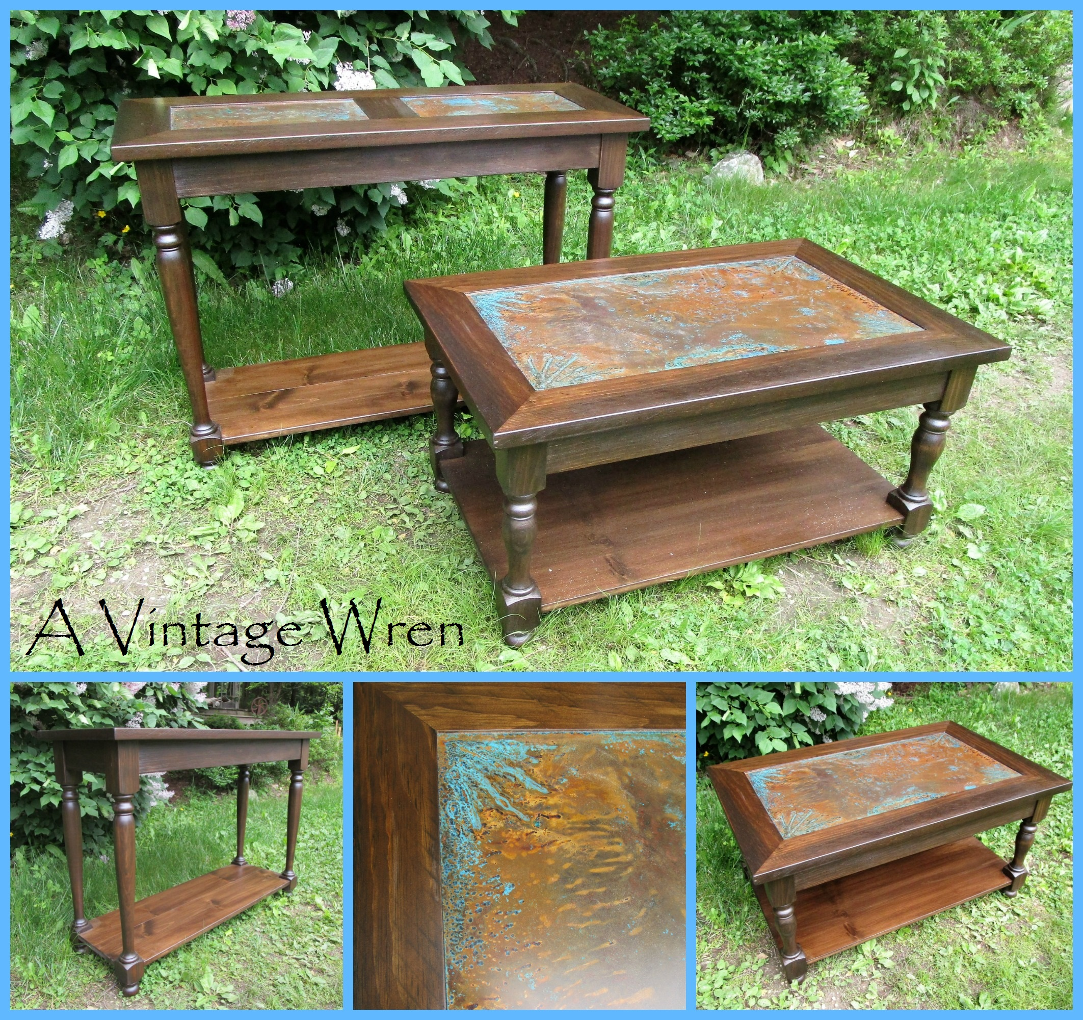 Copper patina and wood tables