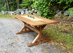 Wood X Trestle Dining Table for 6