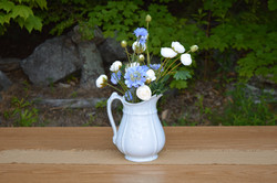 Ironstone pitcher with cabbage roses and batchler buttoms