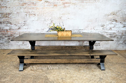 Industrial Trestle Dining Table for 10