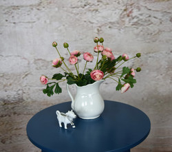 Ironstone pitcher and cow creamer