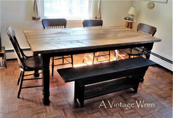 Rustic Farm Table with Black Base
