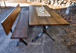 Industrial Dining Table and Bench for 8