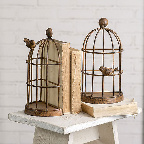 Pair of Bird Cage Bookends/Rusty Metal Decor