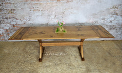 Extendable Trestle Dining Table for 10