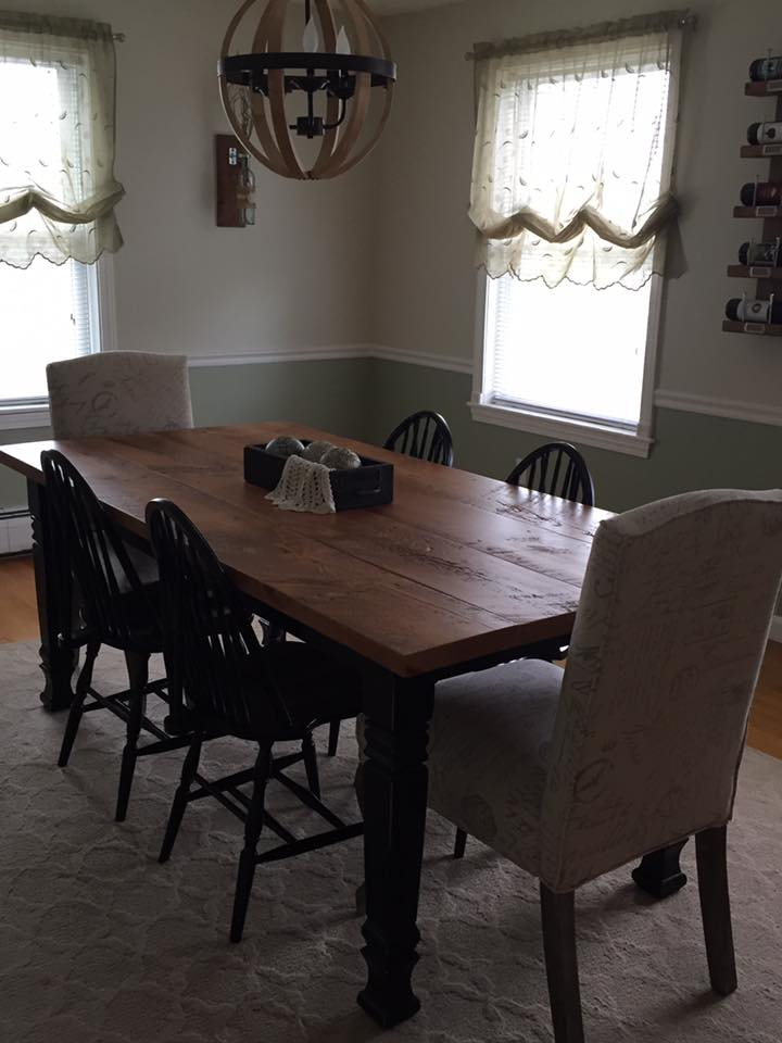 Farm Table with Painted Black Base