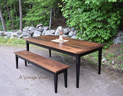 Black Walnut Dining table and bench set
