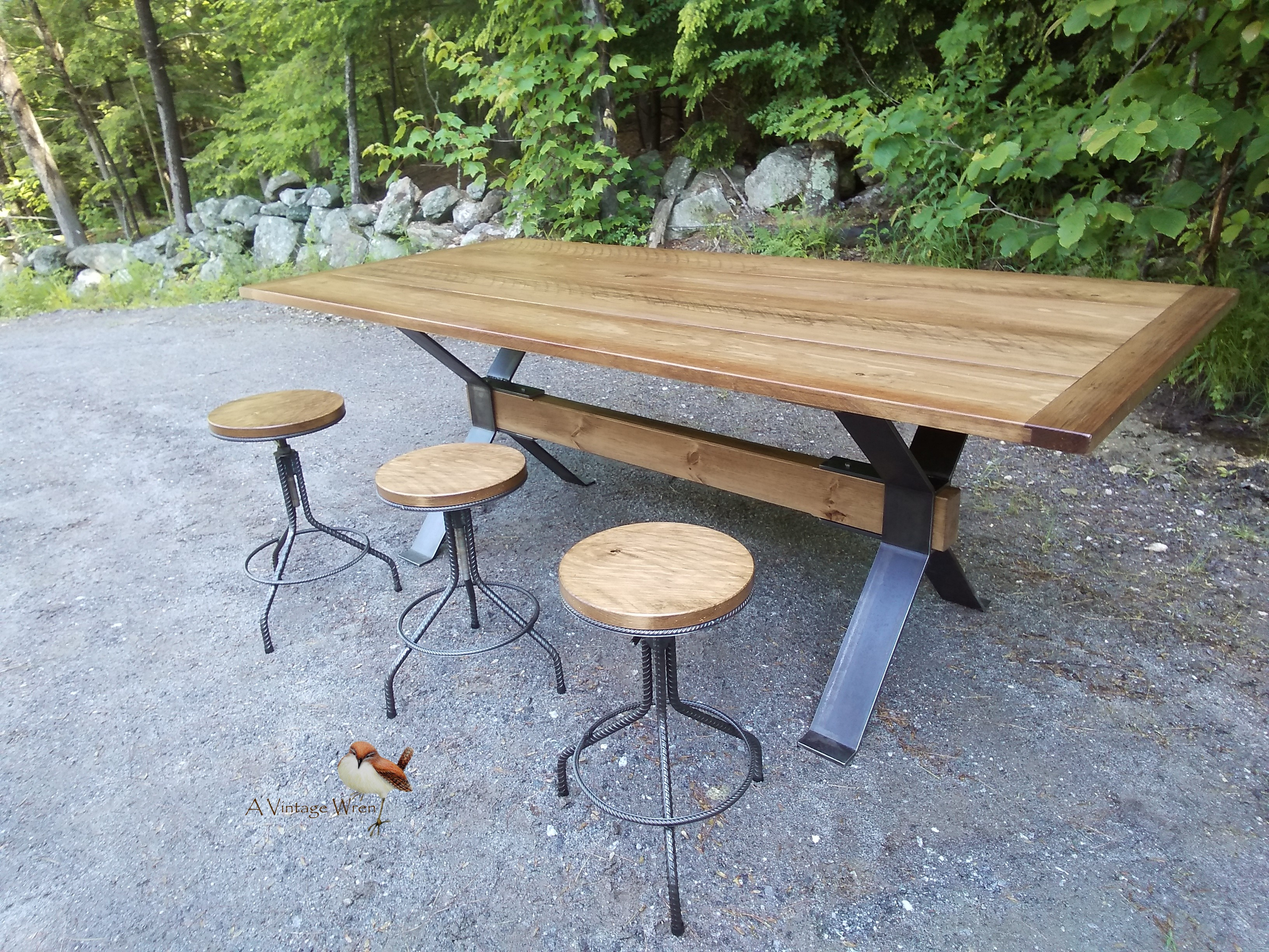Wood and Metal dining set for 8