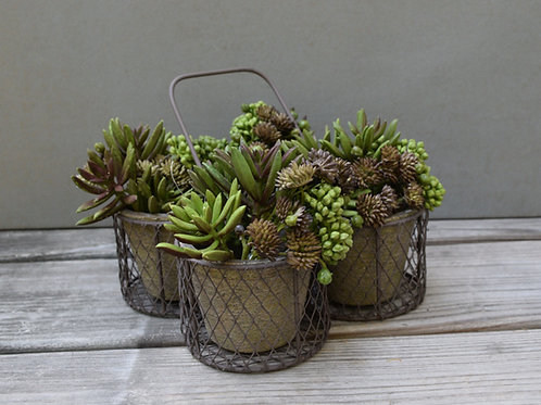 metal and terracotta planter pot / Flower box planter / rustic garden planter /
