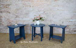 Set of 3 Blue accent tables