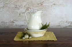 Antique White Ironstone with Christmas Greens and Ornaments