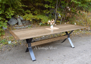 Custom made Red Oak Industrial Dining Table
