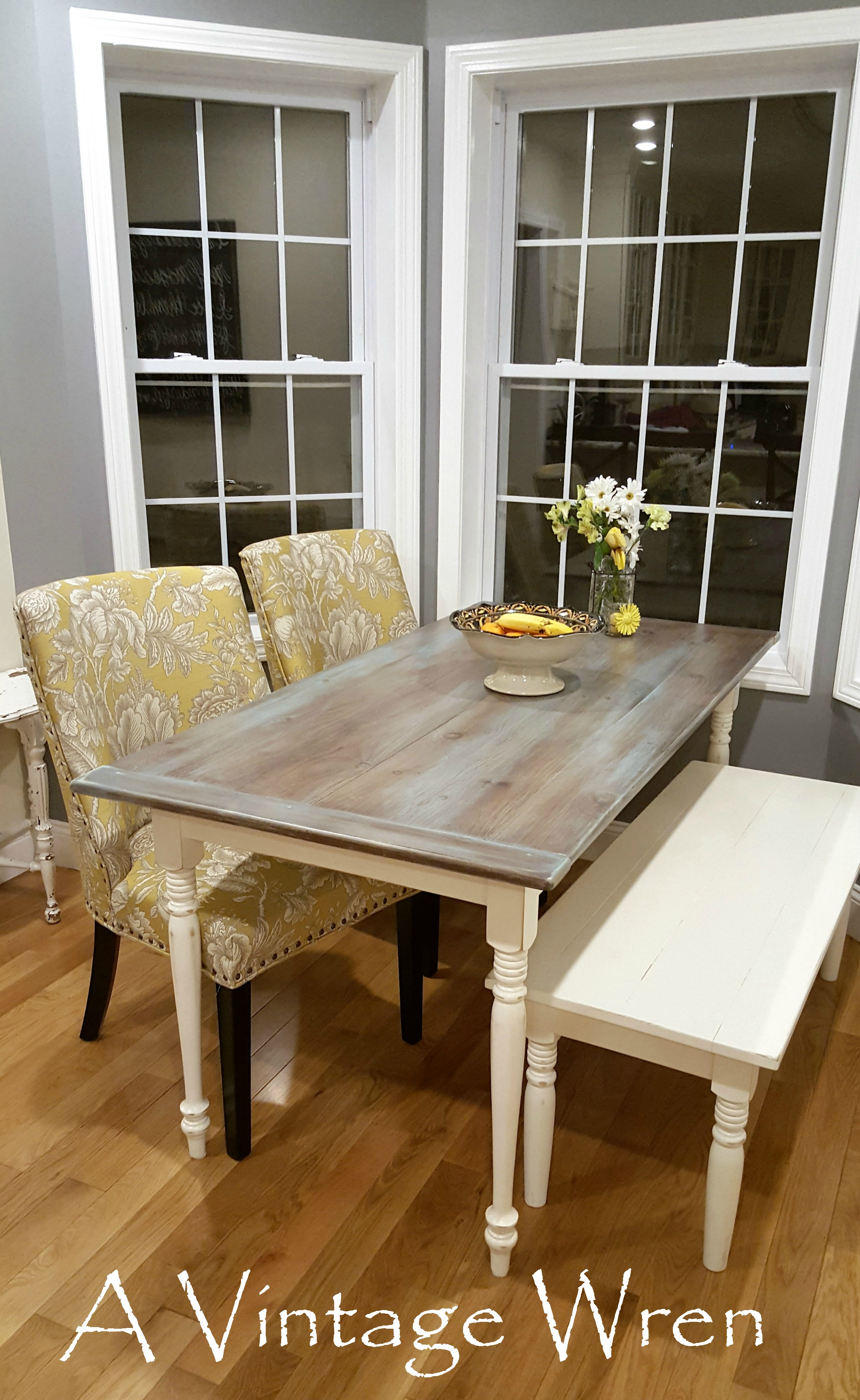 Gray washed farm table