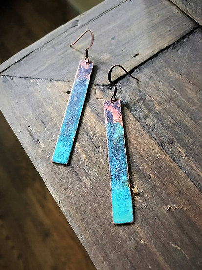 Copper Turquoise Patina Bar Earrings