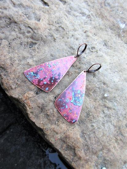 Copper Fan Patina Earrings