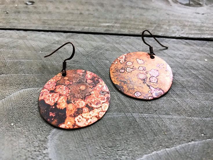 Brass Flame Patina Disc Earrings
