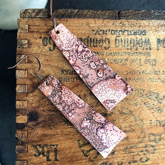 Brass Patina Tapered Column Earrings