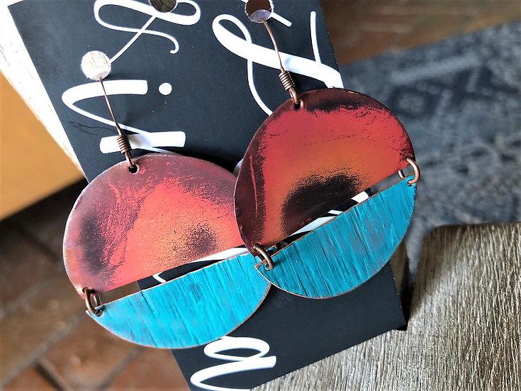 Large Copper Dangle Disc Earrings