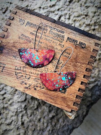 Half Circle Copper Patina Earrings