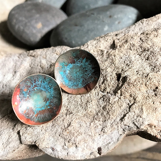 Copper Patina Stud Earrings