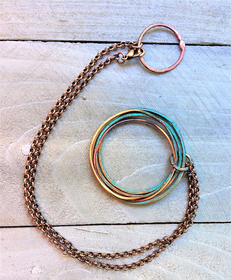 Hammered Copper Ring Pendant Necklace