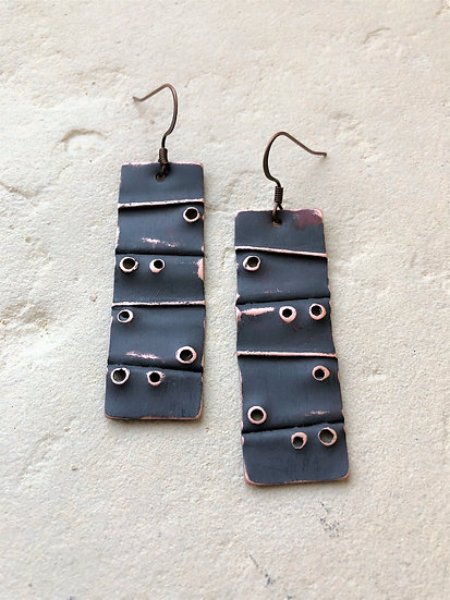Copper Charcoal Tag Earrings